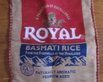 Nice Burlap Bag Royal Basmati Rice, Tote Bag, Nice Strong Fabric for Your Craft, Recycled Market Bag, Simple Tote Bag with Red Zipper