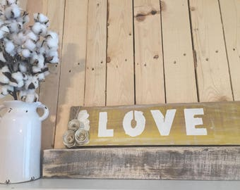 Yellow rustic pallet wood Love with book paper flowers