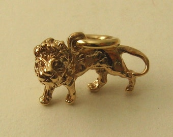 Genuine SOLID 9K 9ct YELLOW GOLD 3D Leo Zodiac Sign King Lion Animal charm/pendant