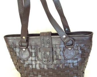 15% off SPRING SALE Genuine vintage brown leather woven tote bag carryall