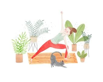Yoga At Home 8.5 x 11 Print