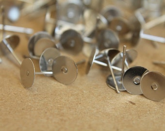 100 pc. Stainless steel earring posts, 8mm pad | FI-097
