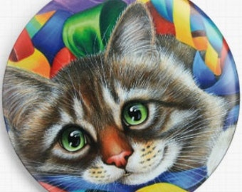 Cat Needle Minder, Christmas, Irina Garmashova-Cawton, Cross Stitch Keeper, 'Ribbons and Bows', Kitten Fridge Magnet, Cross Stitch Accessory