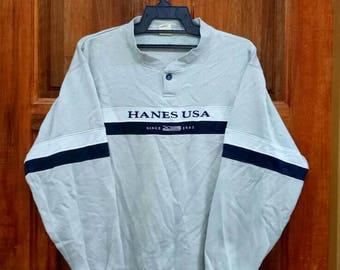 Rare!! HANES USA sweatshirt spellout nice design jumper pullover crew neck multicoloured medium size