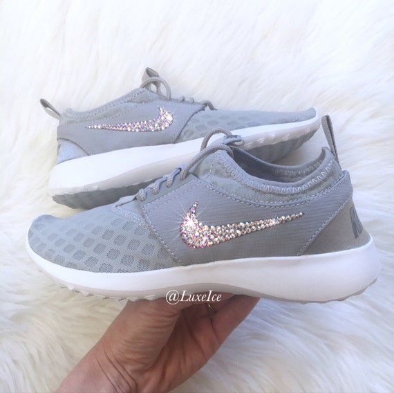 Bling Nike Juvenate Wolf Grey/White/Cool Grey with SWAROVSKI® Xirius Rose-Cut  Crystals AB.