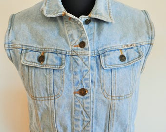 Vintage Denim Vest / Fit / Jean / Size Small / Medium / 90's / Button Up / Oversize / Crop / Cropped / Grunge / Short