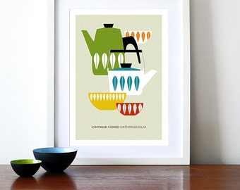 Cathrineholm poster print  Mid Century Modern home vintage kitchen art enamelware coffee tea- Vintage home Cathrineholm 4  A3