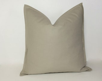 Flanged pillow cover. Linen tan pillow with flange. Neutral home decor. Decorative pillow cover