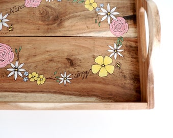 Wooden Tray Personalised - Wooden Tray Rustic, Wooden Tray with handles, Wooden Tray UK,Reclaimed Wood Tray,Flowers,Pyrography, Serving Tray