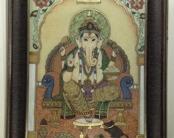 Handmade gemstone lord ganesha painting with frame
