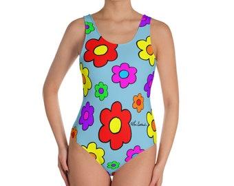 Pop Art Flowers One-Piece Swimsuit