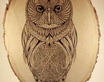 Owl Mandala Pyrography // Wood Burned Wall Art // Wall Decor
