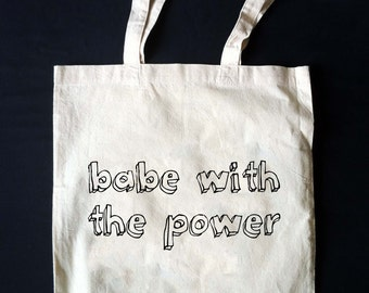Labyrinth BABE WITH the POWER Canvas Tote Bag!!  Made to Order!