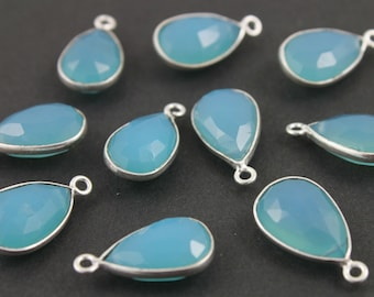 Aqua Chalcedony, Bezel Pear Shape Gemstone Component,  11x17mm 1 Piece, (BZCT7001-A)
