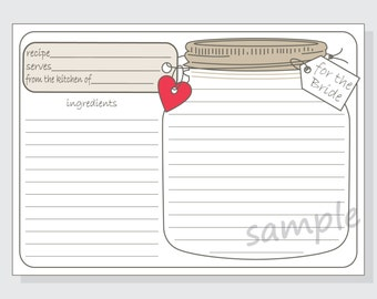 Printable Mason Jar Recipe Cards for the Bride DIY with red, purple or pink hearts - 4x6 size