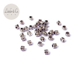 40 fresco 5mm [NF30] silver plated tube beads