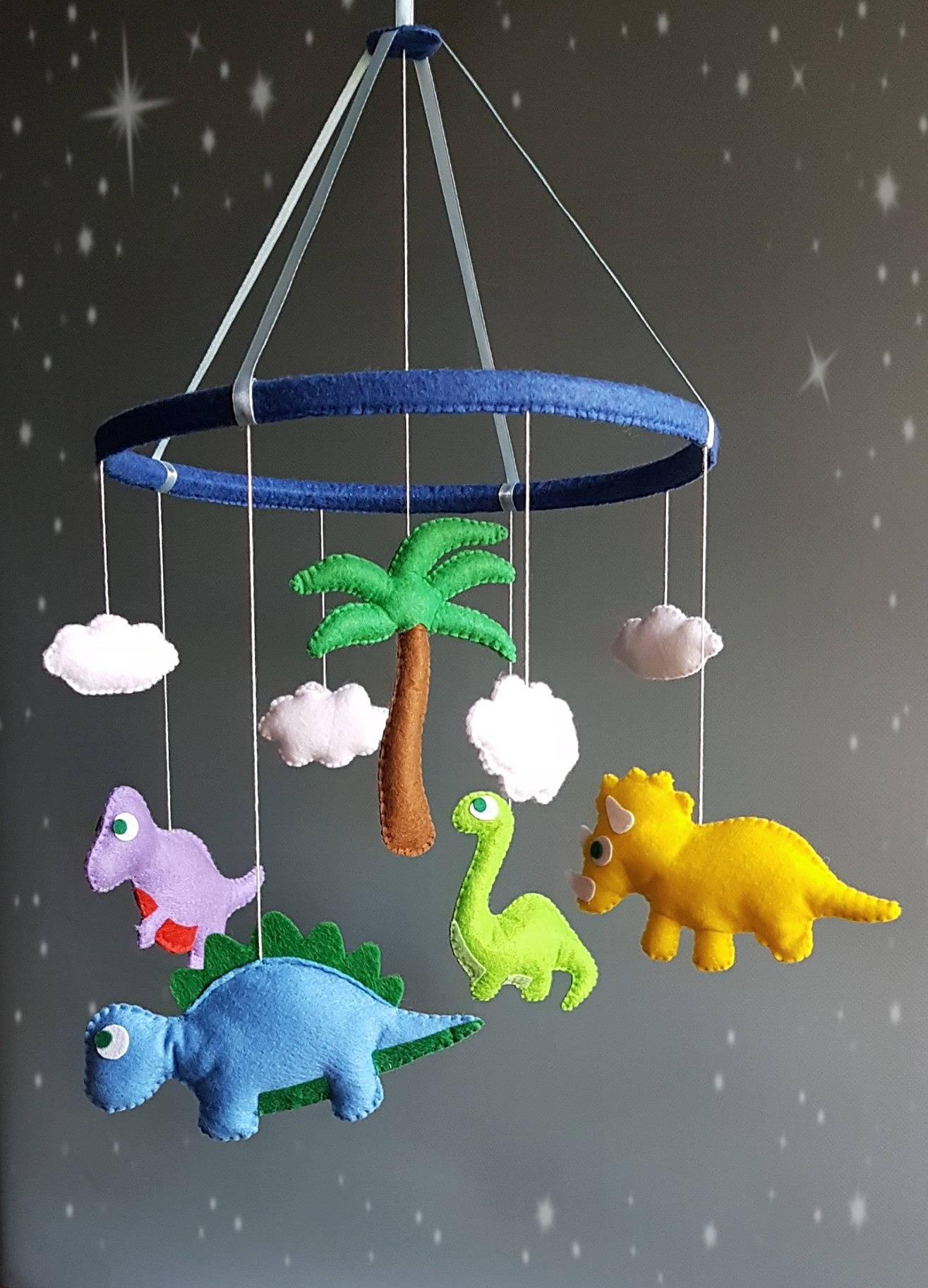 dinosaur baby crib mobile nursery decor felt mobile hanging. Black Bedroom Furniture Sets. Home Design Ideas