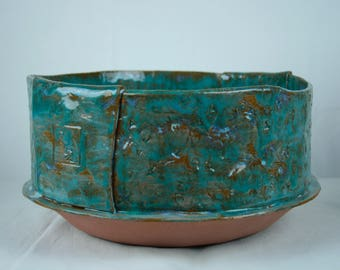 Large line vase green blue stoneware Texture-1/3