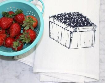 Blueberry Kitchen Towel - Flour Sack Towel - Tea Towel -  Dishcloth - 100% Cotton - Hand Towel - Fruit Print