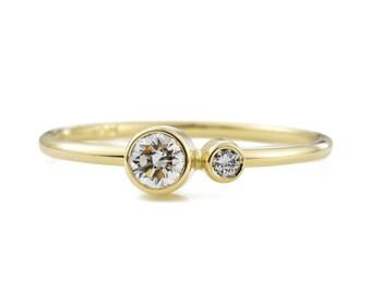 Kiss-Diamantring, Diamantring Duo, April Birthstone Ring, Sie und mich ring, 14K Gold Diamant-Ring, Geschenk für sie