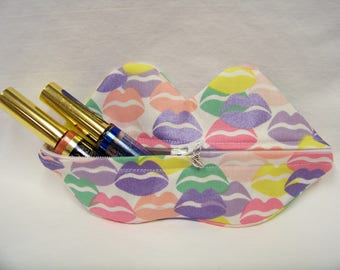Zippy Lips in Kool Thing in Powder - Makeup Pouch - Coin Purse - Lipstick Pouch - Ready To Ship