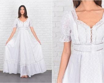 Vintage 70s White Boho Hippie Dress Lace Prairie Festival Puff Slv XS 7206 vintage dress 70s dress white dress boho dress hippie dress lace