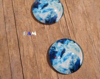 Set of 2 sea or Sky nuageaux blue 25 mm cabochon