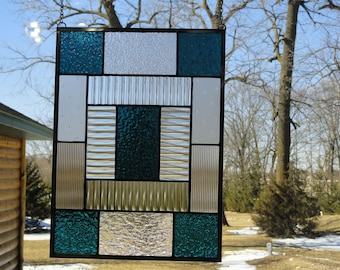Stained Glass Geometric Window Panel