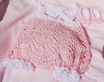 Crocheted Romper/Sunsuit w Matching Sandals Pink Cotton Yarn Newborn Baby Girl