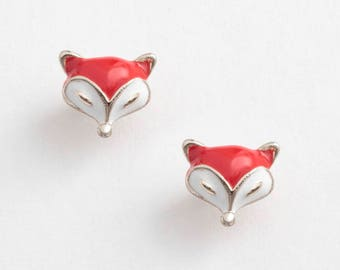 New Small Enamel Fox Stud Earrings.