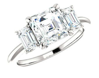 1.80 Carat Asscher Cut Supernova Moissanite & Emerald Cut Diamond Engagement Ring, Asscher Three Stone Rings, Handmade Moissanite Rings