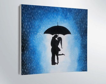 Easter gift on sale  Couple under the umbrella painting-wall decor-artwork-home decor-gift ideas-silhouettes-love-canvas-valentine's day