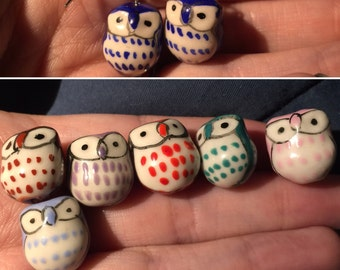 Pink Owls Ceramic earrings