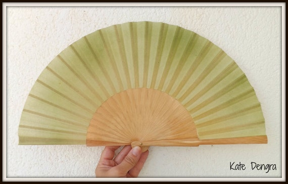 Green and Cream Natural Wood Folding Hand Fan Abanico Eventail Wooden Fabric Hand Painted by Kate Dengra Spain