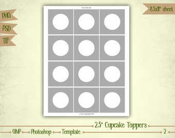 """2.5"""" Cupcake Toppers - Digital Collage Sheet Layered Template - (T002)"""
