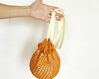 Nicolette Wedding Purse Bag Tangerine Orange Flower Girl Bridesmaid Hand Knit Cotton/Linen Lace