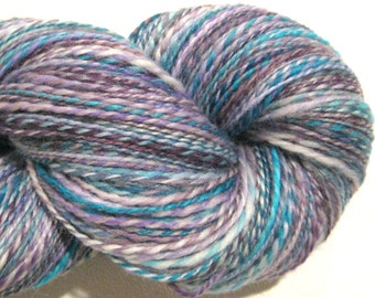 Handspun yarn, Whisperings DK weight 414 yards lavender turquoise white yarn 2 ply Superwash BFL wool, Nylon, sock yarn, knitting supplies