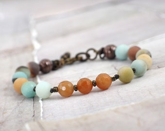 red aventurine and amazonite bracelet, Orange and blue chunky stone jewelry for layering, Rustic cowgirl gift ideas, Colorful gemstones