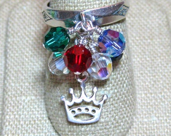 Swarovski Crystal Royal Colors Crowned Queen for the Day Dangle Ring - R189