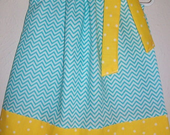 12m Pillowcase Dress with Chevron Dress size 12 month Blue and Yellow Minion Party Dress toddler dresses Baby Dresses for Baby Girl Dress