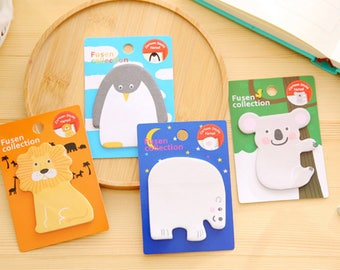 Animal Sticky Notes/Memo Pad/Post It Notes/Journal/School Office Supplies/Note Pads/Memo Pad/Post it note/Koala Bear/Lion/Penguin/Kawaii