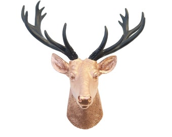 Mini Deer Head Wall Mount in Rose Gold And Black - Faux Taxidermy Deer Head Wall Mount - Gallery Wall Decor - Home Decor Wall Mount SD1117