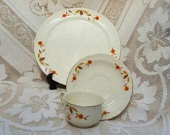 Hall Salad Plates Cups Saucers Jewel Autumn Leaf by Mary Dunbar