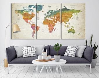 Large Wall Art, Push Pin World Map Wall Art, Brown Green Dominated World Map Canvas Print, Push Pin Framed World Map, Push Pin Travel Map