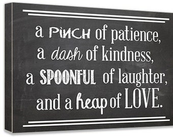 Framed Canvas art A pinch of patience, a dash of kindness, a spoonful... inspirational signs quotes lettering pets wall art signs plaque