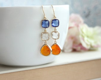 Orange Tangerine Cobalt Blue Gold Plated Earring Summer Earring Unique Glass Drop Earring Long Dangle Earring Blue and Orange Bridal Jewelry