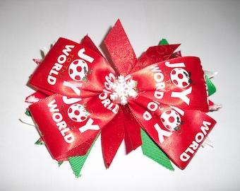 Handmade Christmas Hair Bow/ Holiday Hair Bow.