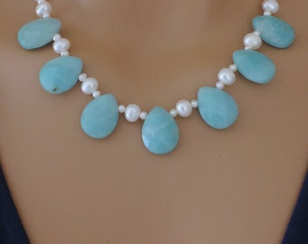 Gemstone Necklace - Aquamarine Amazonite Necklace - White Pearl Necklace - Blue Gemstone Necklace - Bridal Necklace - handmade jewelry