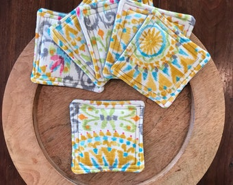 Yellow coasters, fabric coaster set, set of 6, quilted fabric coasters, hostess gift, Mother's Day gift, bridal shower gift, gift for her