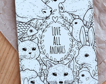 Love all animals - print a5